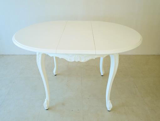 ビバリーヒルズ ラウンドテーブル シェルの彫刻 伸長式 100-130cm ホワイト色