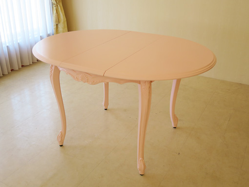 ビバリーヒルズ ラウンドテーブル シェルの彫刻 高さ73cm 伸長式 100-130cm バービーピンク色
