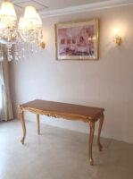 ビバリーヒルズ ダイニングテーブル W130 D54 H73 金箔仕上げ ブロンズゴールド色