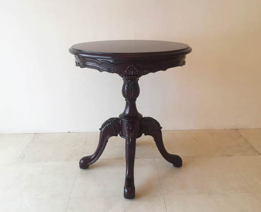 ラウンドテーブル 1本脚 φ60cm シェルの彫刻 ブラウン色