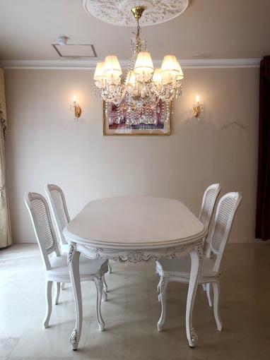 ラ・シェル ダイニングテーブル W200cm ビバリーヒルズの彫刻 マダム・ココ色