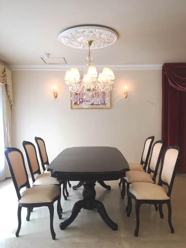 ベルサイユ ダイニングテーブル 伸長式190-238cm ブラウン色