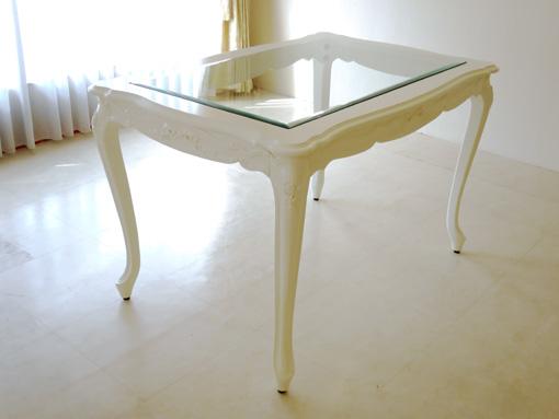ビバリーヒルズ ダイニングテーブル ガラストップ W120 D80 オードリーリボンの彫刻 薔薇の彫刻の脚