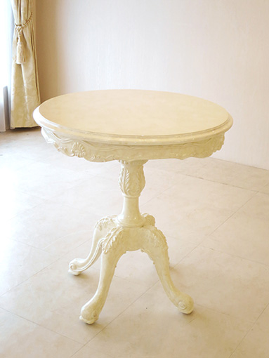ビバリーヒルズ ラウンドテーブル 1本脚 70cm マーブルクリーム色