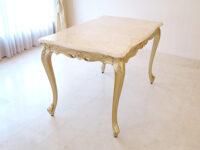 ビバリーヒルズ ダイニングテーブル W120×D75 ゴールド色 クリームベージュの大理石天板