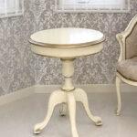 ラウンド ティーテーブル 60cm シンプルデザイン アンティークホワイト&ゴールド色のサムネイル