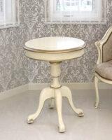 ラウンド ティーテーブル 60cm シンプルデザイン アンティークホワイト&ゴールド色