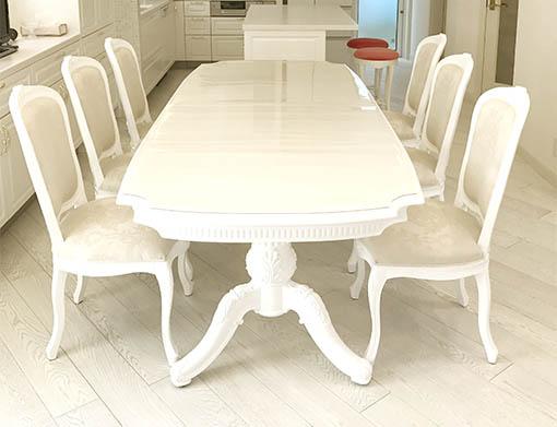 ベルサイユ ダイニングテーブルW240cm スーパーホワイト色