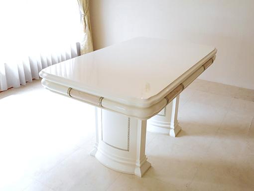 アフロディーテ ダイニングテーブル W130×D80cm ホワイトグロス色 クリームベージュ大理石の装飾