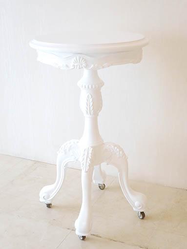 ラウンドテーブル 1本脚 35cm キャスター付き シェルの彫刻 スーパーホワイトグロス色