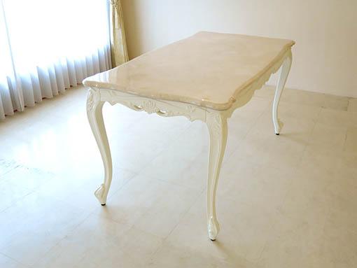 ビバリーヒルズ ダイニングテーブル W140×D75cm 引出し付 クリームベージュの大理石天板