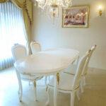 ラ・シェル ダイニングテーブル180オードリーリボンの彫刻 スーパーホワイトグロス色 ゴールドの彩色のサムネイル