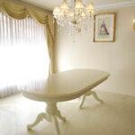 ベルサイユダイニングテーブル W220cm オーバル型 ホワイト色 天板ロッソ色のサムネイル