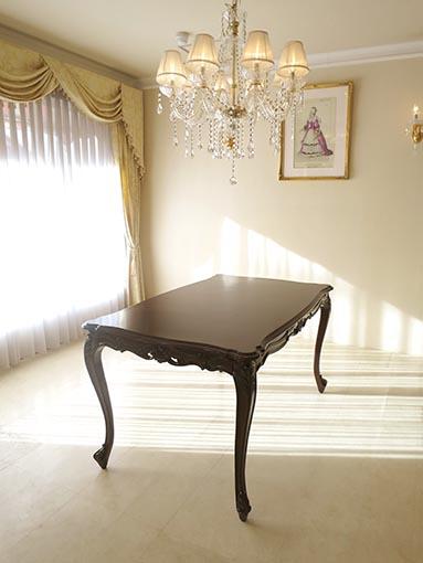 ビバリーヒルズ ダイニングテーブル W140cm ブラウン色