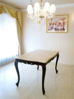 ビバリーヒルズ ダイニングテーブル W130×D80 クリームベージュの大理石天板 ブラウン色