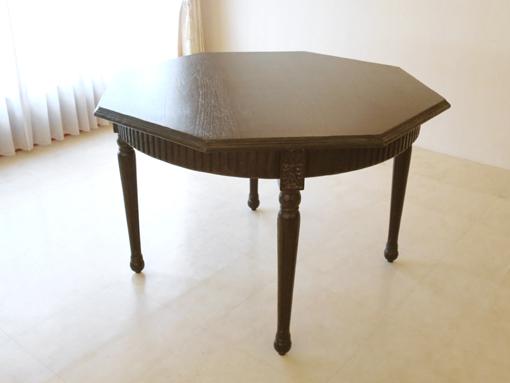 ダイニングテーブル 八角形 ダークブラウン オールドブリティッシュスタイル チーク材
