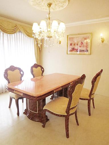 アフロディーテ ダイニングテーブル W180 天然石オニキス天板 マーブルブラウン色