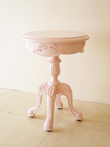 ティーテーブル 1本脚 オードリーリボンの彫刻 バービーピンク色