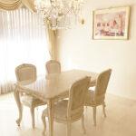 ビバリーヒルズ ダイニングテーブル W150×D85 クリームベージュ大理石天板 アンティークピンクベージュ&ゴールド色のサムネイル