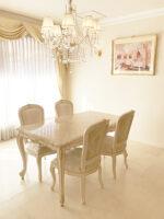 ビバリーヒルズ ダイニングテーブル W150×D85 クリームベージュ大理石天板 アンティークピンクベージュ&ゴールド色
