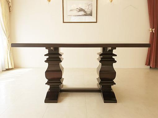 ダイニングテーブル W150cm フレンチクラシックスタイル ダークブラウン色
