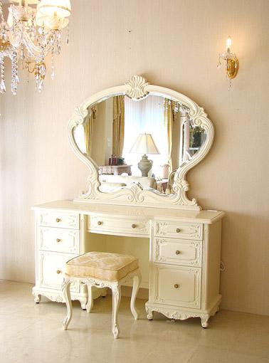 ビバリーヒルズ ドレッサー 一面鏡 ホワイト色 シャンパンゴールドのスツール