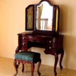 ビバリーヒルズ ドレッサー 薔薇の彫刻 グリーンレザー(本革)の張り込み×ブラウン色のサムネイル