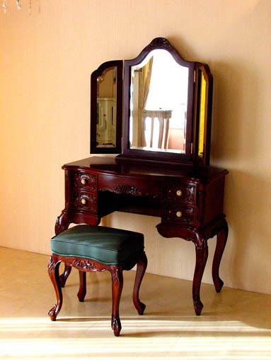 ビバリーヒルズ ドレッサー 薔薇の彫刻 グリーンレザー(本革)の張り込み×ブラウン色