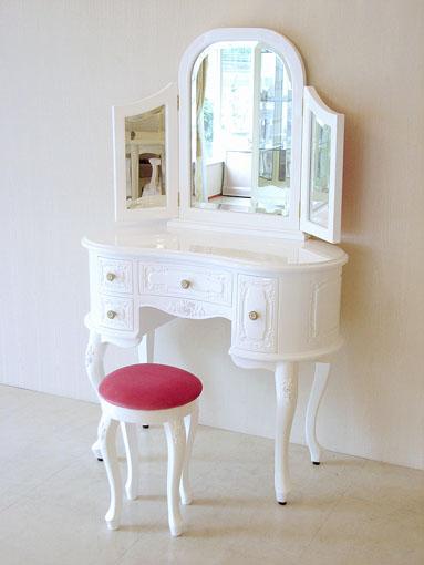 プリンセスドレッサー 薔薇の彫刻 スーパーホワイトグロス色 ショッキングピンクのベルベット