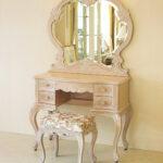 ビバリーヒルズ ドレッサー 一面鏡 ピンクベージュ色 薔薇柄の張り地のサムネイル