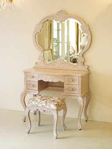ビバリーヒルズ ドレッサー 一面鏡 ピンクベージュ色 薔薇柄の張り地