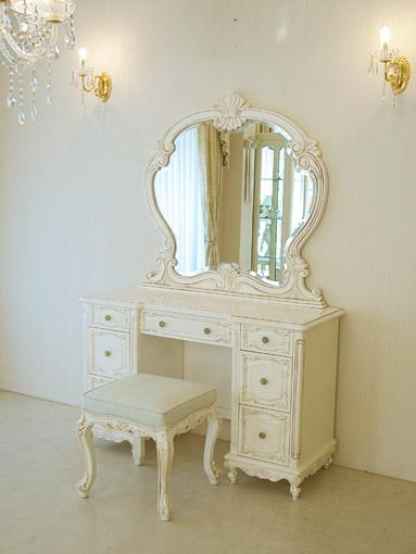ドレッサー 一面鏡 アンティークホワイト