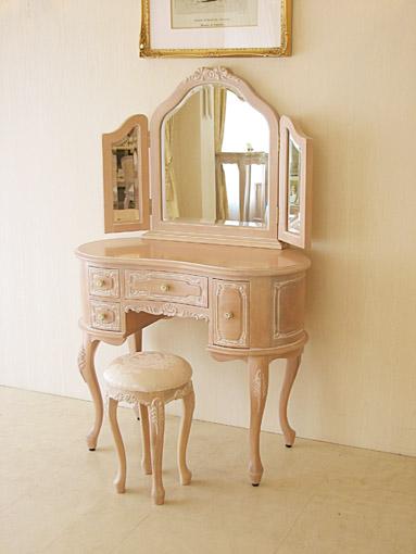 プリンセスドレッサー リボンの彫刻 リボンとブーケ柄オフホワイト