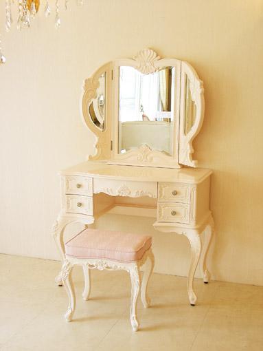 ビバリーヒルズドレッサー パステルピンクグロス色 3面鏡 ピンクモアレの張り地