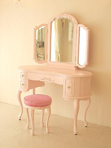 プリンセスドレッサー W113㎝ オードリーリボンの彫刻 上台:オードリーデザイン バービーピンク色 ベビーピンクの張地