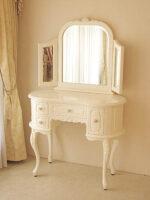 プリンセスドレッサー ビバリーヒルズの彫刻 ホワイト色 (スツールなし)