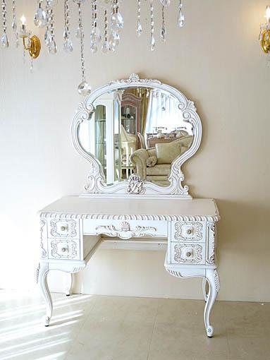 ドレッサー クラシックスタイル 一面鏡 シェルとクラウンイニシャルの彫刻 マダム・ココ色