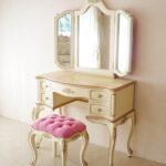 ビバリーヒルズドレッサー 薔薇の彫刻 アンティークホワイト&ゴールド色 ボタン締めのサムネイル