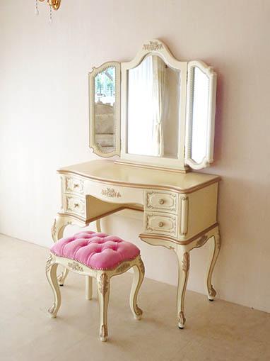 ビバリーヒルズドレッサー 薔薇の彫刻 アンティークホワイト&ゴールド色 ボタン締め