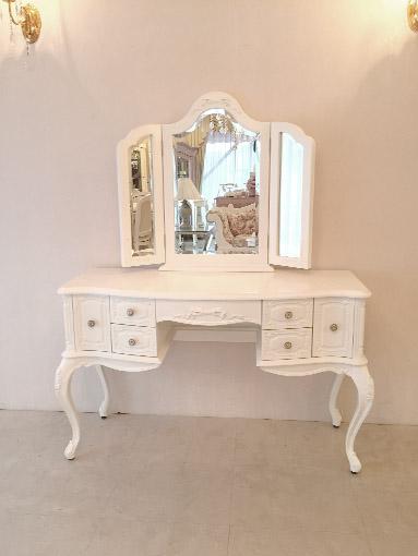 ビバリーヒルズドレッサー ホワイト色 W120 オードリーリボンの彫刻