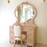 ドレッサー W110 エレガントな一面鏡 オードリーリボンとイニシャルの彫刻 下台 ビバリーヒルズの彫刻 ピンクベージュ色のサムネイル