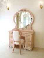 ドレッサー W110 エレガントな一面鏡 オードリーリボンとイニシャルの彫刻 下台 ビバリーヒルズの彫刻 ピンクベージュ色