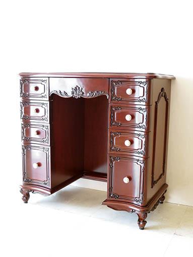ドレッシングテーブル W80cm 引出し9杯 ビバリーヒルズの彫刻 側面モールディング マホガニー色 ブラックアンティーク仕上げ スツール付き ベージュベルベットの張地
