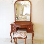 ビバリーヒルズ 一面鏡 高さ170cm 右側引出し1杯 薔薇の彫刻 マイエル色のサムネイル