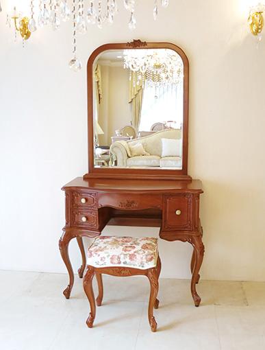 ビバリーヒルズ 一面鏡 高さ170cm 右側引出し1杯 薔薇の彫刻 マイエル色