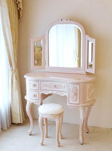 プリンセスドレッサー リボンの彫刻 ピンクベージュ色 オールドローズの張地