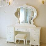 ドレッサー W150cm 一面鏡 ビバリーヒルズの彫刻 ホワイト色 ホワイトベルベットの張地のサムネイル