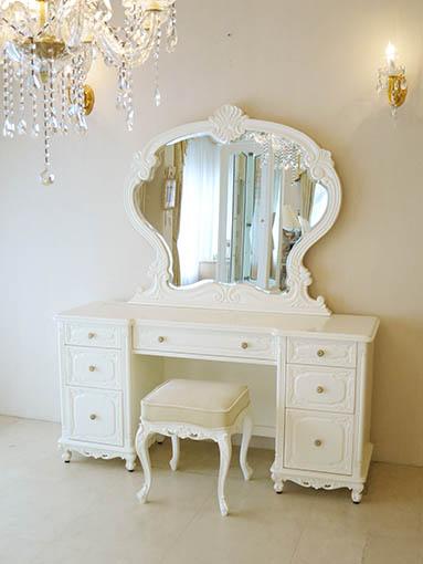ドレッサー W150cm 一面鏡 ビバリーヒルズの彫刻 ホワイト色 ホワイトベルベットの張地