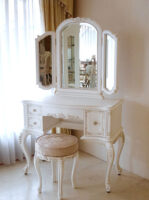 ビバリーヒルズ ドレッサー プリンセススタイル シェルの彫刻 引出し右側1杯 マダム・ココ色 ピンク花かご柄の張地