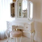 ビバリーヒルズ ドレッサー プリンセススタイル シェルの彫刻 引出し右側1杯 マダム・ココ色 ピンク花かご柄の張地のサムネイル